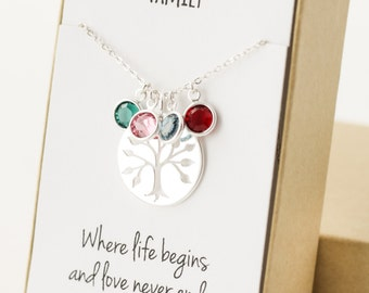 Family Tree Necklace - Grandma Gift - Gifts for Grandma - Grandma Necklace - Grandmother Gift - Grandmother Necklace - Personalized Grandma