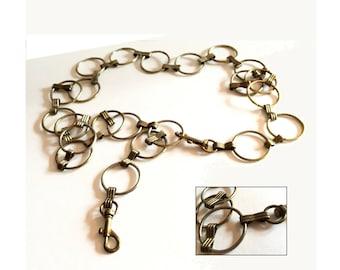 "1960s MOD Brass Chain Link Belt, Vintage Brass Chain Belt, Circle Chain Belt, Metal Chain Belt, 1.25"" Wide Loops, 49.5"" Length"