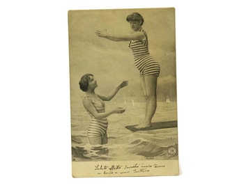 Antique Bathing Beauties Black and White Postcard.