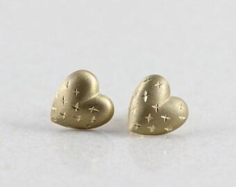10k Yellow Gold Heart Stud Post Earrings