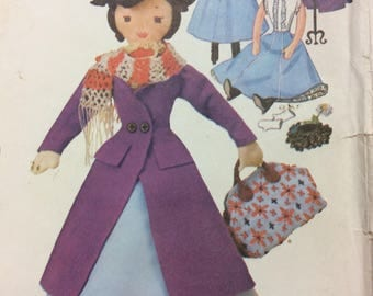 "McCalls 7432 UNCUT Marry Poppins Stuffed Doll & Nanny Costume 1960s Vintage Sewing Pattern 17"" Doll Stuffed Doll Toy Collectable"