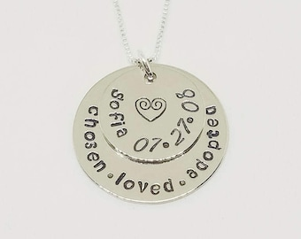 Adoption Jewelry - Silver - Adoption Gift - Hand Stamped Jewelry