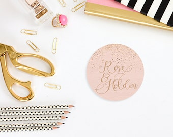Rose Gold Stickers - Calligraphy Inspired Wedding Invitation or Favor Stickers