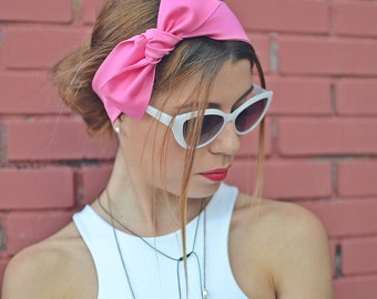 50s Head Scarf, Workout Head Scarf, Hot Pink Head Bow, Headband Adult, Woman Top Knot, Cotton Head Wrap, Pin Up Headband, Bow Headband, Gift