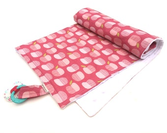 Pink Nursery Bedding - Pink Baby Blanket - Pacifier Blanket - Baby Room Decor - Baby Girl Blanket - Crib Blanket - Pink and Green Blanket