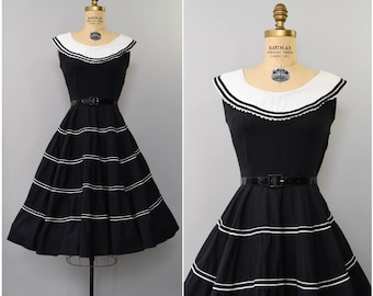 1950's black and white cotton sun dress • small