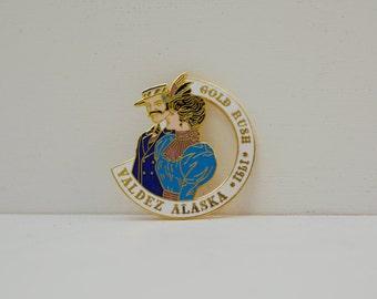 Gold Rush Days Valdez, Alaska 1991 Pin; Gold Brooch with Victorian Characters; Souvenir; FREE SHIPPING U.S.A.