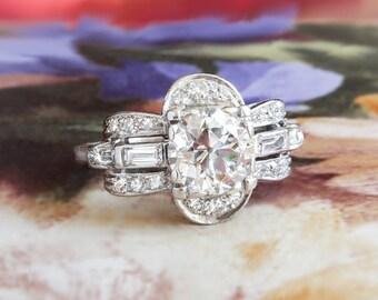 Art Deco Engagement Ring Circa 1930's Old European Cut Diamond Engagement Anniversary Wedding Platinum Ring