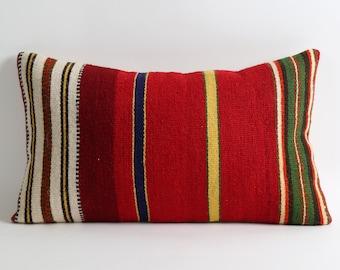 Red kilim pillow cover 12x20 striped kilim pillows