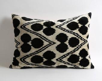 Black White Velvet Pillow Covers, 16x22 handwoven hand dyed silk velvet ikat pillow cover, Couch Pillow, Gift, Ikat Pillow