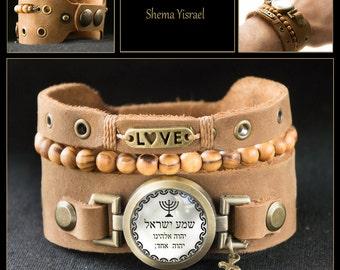 Jewish Hebrew Shema Yisrael Bracelet with Menorah, Love, Cross and  Bethlehem Rosary Olive Wood Beads, Holy Land Jewelry