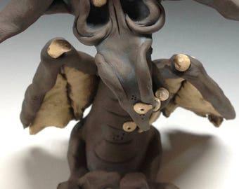 Whimsical Dragon Sculpture, Ceramic pottery stoneware ornament,  Vulcan