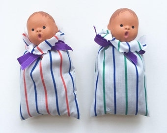 Pair of baby doll lavender bags - sweet ceramic choir boys, scented laundry drawer liners, miniature collectible figures, laundry fresheners