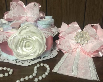 Rustic Baby Shower Diapers Centerpiece, Diaper Cake Centerpiece.