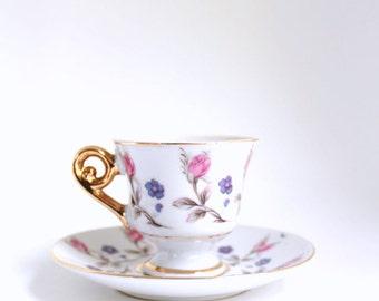 Demitasse Teacup, Floral Teacup, Floral Demitasse, Pink Demitasse, Purple Demitasse, Pink & Purple Teacup, Teacup and Saucer, Teacup Set