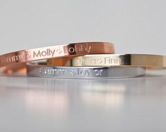 Engraved Children's Name Bracelet - Name Jewelry - Sterling - Rose Gold - Gold-Filled - Name Bracelet - Engraved Jewelry - Custom Engraving