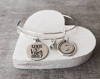 Good vibes only, Positive energy, Quote, Inspirational, Inspire, Motivational, Grad, Silver Bracelet, Silver Jewelry, Charm Bracelet, Gifts
