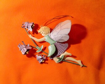 Metal Cutout Pixie or Fairy - Painted Green & Purple - Wall, Window Hanging - Indoor, Outdoor Decor - Mystical Fantasy Fairy or Pixie Garden