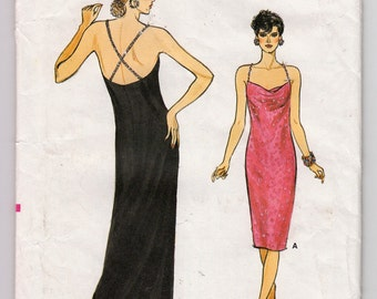 1980s Vogue 9522 Evening Gown Or Cocktail Dress With Front Draped Neckline And Beaded Trim Shoulder Straps - Size 12 14 16 Bust 34 36 38