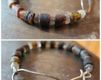 Raw amber Labradorite bracelet Silver bracelet Handmade bracelet Rustic bracelet Wabi sabi jewelry