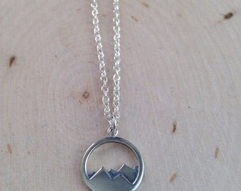 Mountain Charm Necklace / Sterling Silver Charm Necklace / Mountain Peaks / Charm Jewelry / Silver Charm / Necklace