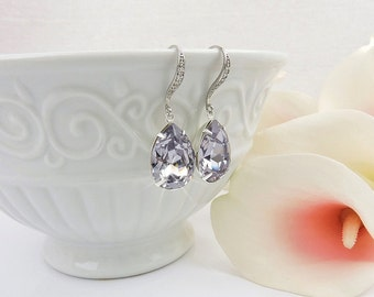 FREE US Ship Smoky Mauve Swarovski Teardrop Bridal Earrings In Silver Swarovski Smoky Mauve Bridal Earrings Light Mauve Crystal Earrings