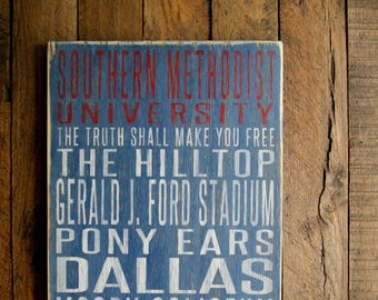 Southern Methodist University Mustangs Distressed Wood Sign--Great Father's Day Gift!