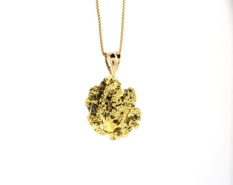 Mariposa Gold Nugget Pendant, Natural California Gold Nugget Necklace