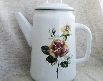 Soviet  vintage farmhouse white enamel coffe pot with rose floral ornament - Home decor - Made in USSR