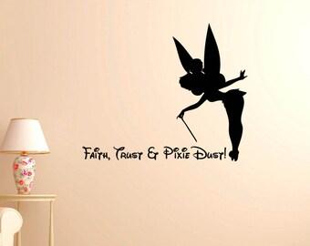 Disney Vinyl Wall Word Decal - Faith, Trust & Pixie Dust - Inspired by Disney - Disney Decor - Children's Room Decor - Tinkerbell
