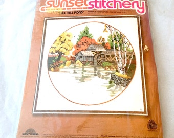 Sunset Stitchery Fall Mill Pond, Embroidery Keepsake, Round Design 16 x 16, Fall Craft Decor Kit, Wall Decor