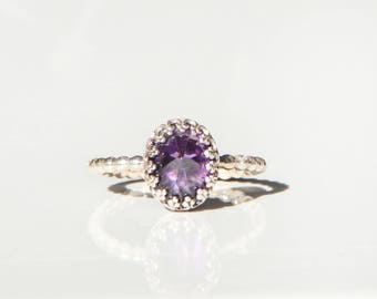 Amethyst gemstone ring, silver ring,Purple stone, Royal Queen Collection,
