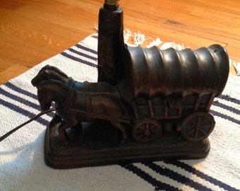 Vintage Metal Covered Wagon Lamp