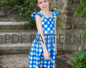 Rosie Cotton PDF, girl dress pattern, dress pdf, holiday dress pdf, flutter sleeve pdf, girl pattern, girl pdf, sewing pdf, sewing pattern