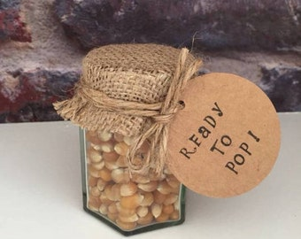20 x Baby shower popcorn kernel favours - 'Ready to pop!'