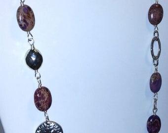 Purple Sea Sediment Jasper Sterling Silver Wire-Wrapped Necklace