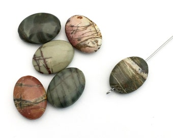 6 Picasso jasper pillow stone beads / 13 mm x 18mm #PP0029-2