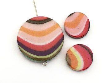3 acrylic resin bead, flat round coin reversible,18mm and 33mm#PA29