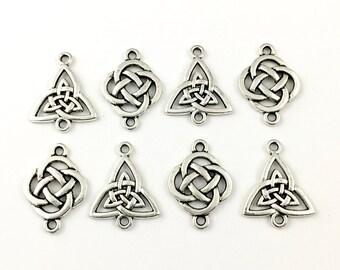 8 knot connectors silver tone ,25mm #CON 203