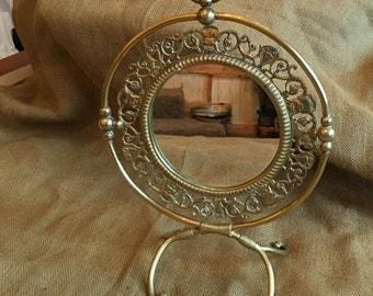 Asian brass round free standing dresser mirror