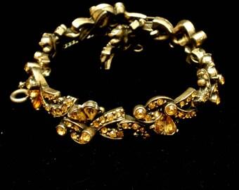 Topaz Rhinestones Vintage Bracelet Hollycraft 1954