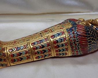 Stunning Gold Finish Egyptian Tomb Statue w. Colorful Patterns & Hieroglyphics