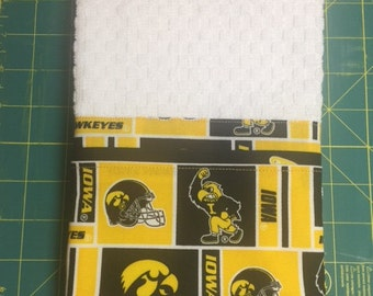 Iowa Hawkeyes KITCHEN Towel Embellished on White