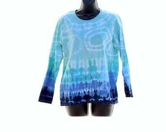 Tie Dye Long Sleeve Shirt, Trippy Womens Shirt, Long Sleeve hippie Top