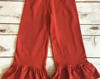 Girls ruffle pants - wide leg ruffle pants - rust red ruffle pants - toddler ruffle pants - baby ruffle pants