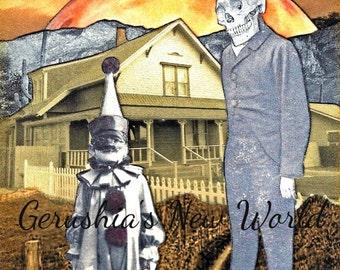 The Keeper of the Halloween Moon -  Print, Collage, Mixed Media, Halloween, Skull, Clown