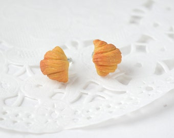 Chips for ears, miniature croissants in polymer clay, sweet jewel, miniature food in fimo fancy cakes in Fimo earrings