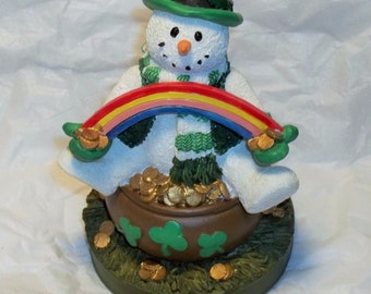 """Always Cool """"Luck O The Irish"""" St Patrick Snowman Figurine Papel Giftware #54533"""