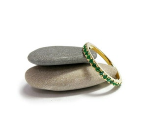 Emerald eternity ring, Emerald engagement ring, Green anniversary ring, Emerald gemstone ring, Stackable wedding ring, May birthstone ring.