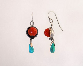 Silver Earrings with Red Coral